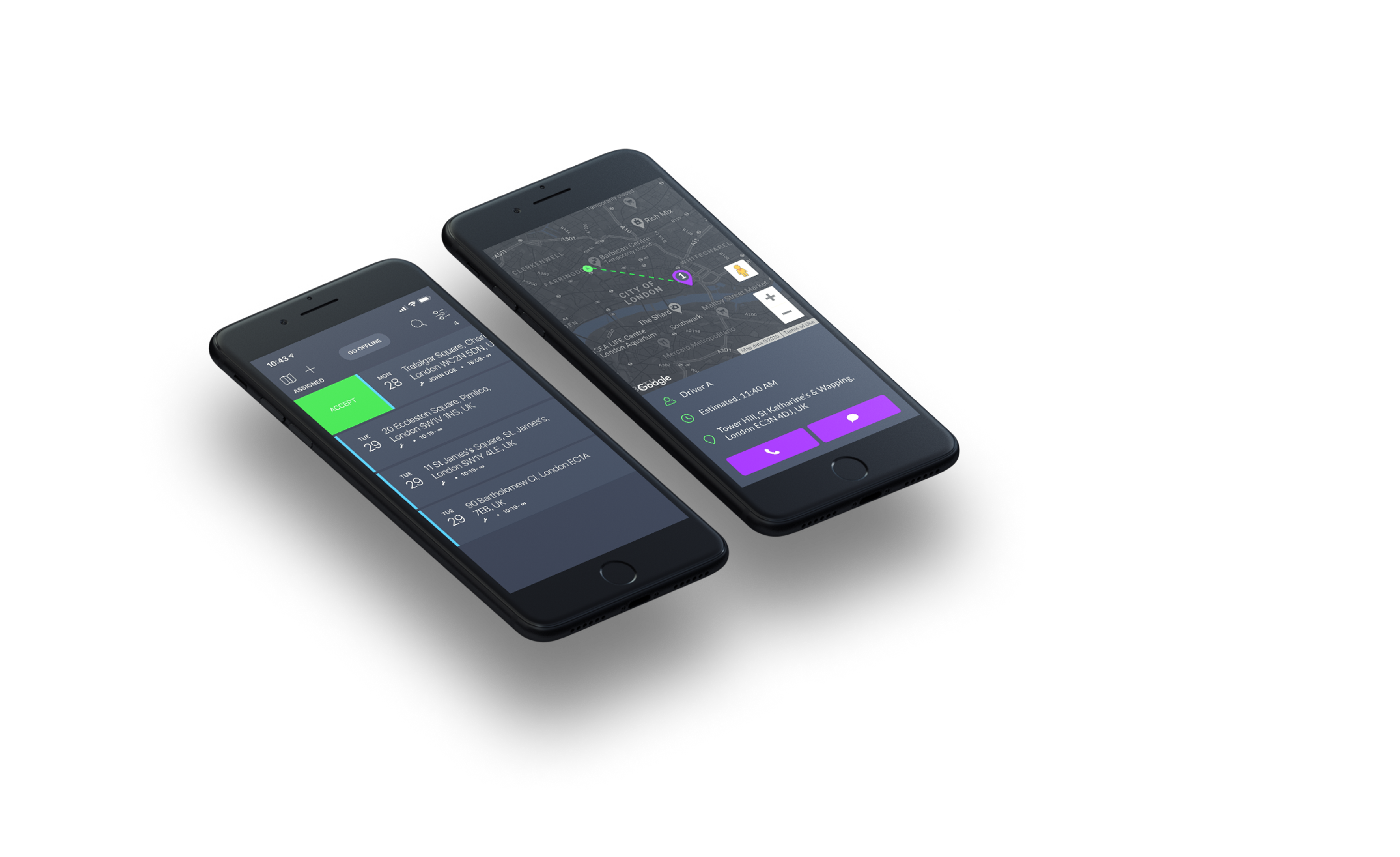 Mobiles displaying GSMTasks interface