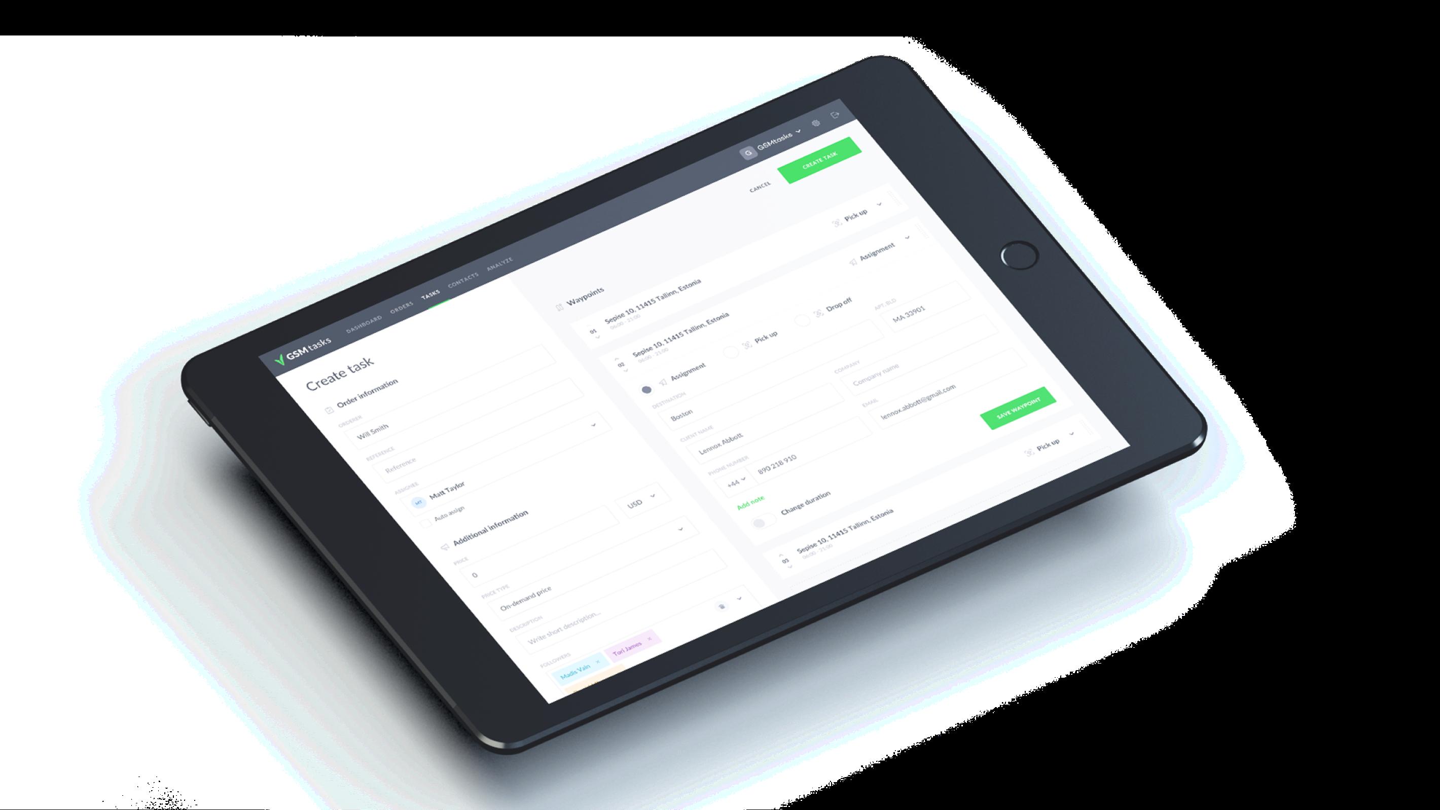 Task creation in tablet using GSMTasks